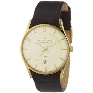 Skagen Men's '474XLGL' Brown Leather Watch