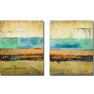 Patricia Pinto 'Rain I and II' 2-piece Canvas Set