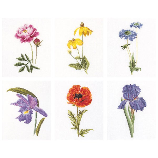 """Floral Studies 5 On Linen Counted Cross Stitch Kit-6-3/4""""X8in"""