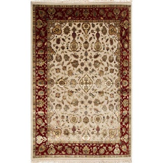Hand-knotted Ivory/ Red Oriental Pattern Wool/ Silk Rug (2' x 3')