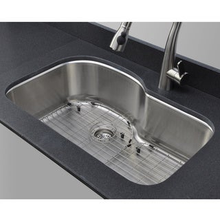 Wells Sinkware 18 Gauge Offset Single Bowl Undermount Stainless Steel Kitchen Sink Package