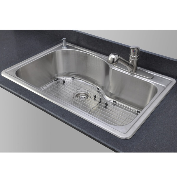 ... Gauge Offset Single Bowl Topmount Stainless Steel Kitchen Sink Package