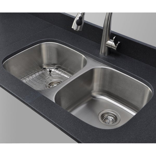 Wells sinkware 33 inch undermount 50 50 double bowl 18 - 18 inch kitchen sink ...