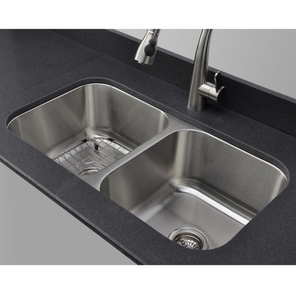 ... Gauge 50/50 Equal Double Bowl Undermount Stainless Steel Kitchen Sink
