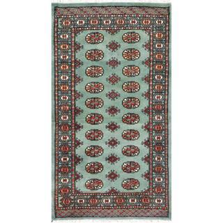 Pakistani Hand-knotted Bokhara Green/ Ivory Wool Rug (3'1 x 5'3)