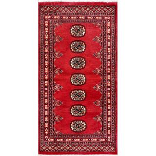 Pakistani Hand-knotted Bokhara Red/ Ivory Wool Rug (2'3 x 4'5)