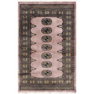 Pakistani Hand-knotted Bokhara Lavender/ Ivory Wool Rug (2'6 x 3'10)