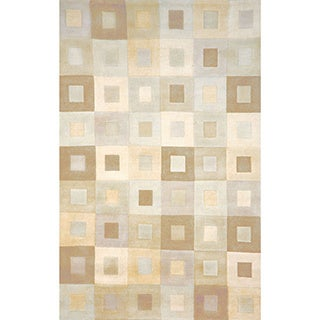 Square In Square Neutral Indoor Rug (8' x 10')