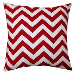 18 x 18-inch Contemporary Red/ White Chevron-print Accent Pillow