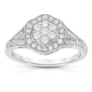 10k White Gold 1/2ct TDW Round Diamond Ring (H-I, I2-13)