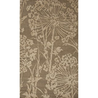 Hand-knotted Gold/ Yellow Floral Pattern Wool Rug (9'6 x 13'6)