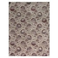 Hand-knotted Pink/ Purple Floral Pattern Wool Rug (8' x 10')