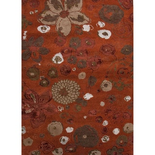 Hand-knotted Red-orange Floral Pattern Wool/ Silk Rug (9'6 x 13'6)
