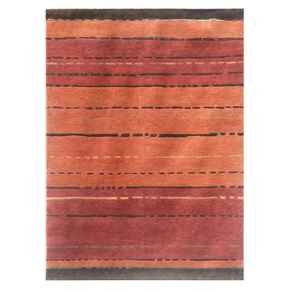 Hand-knotted Red/ Orange Wool/ Silk Rug (5'6 x 8'6)