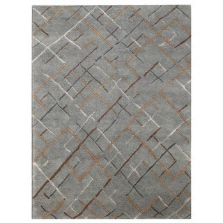 Hand-knotted Blue Abstract Wool/ Silk Rug (5'6 x 8'6)