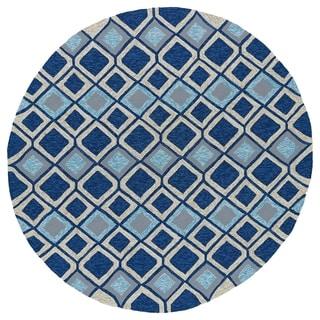Fiesta Moroccan Round Blue Indoor/ Outdoor Rug (5'9)