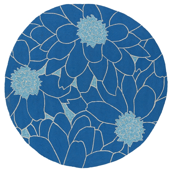 Fiesta Round Blue Flower Indoor/ Outdoor Rug (7'9)