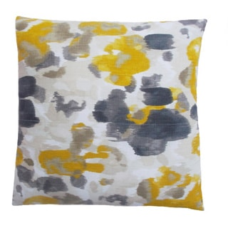 Contemporary Square Floral Yellow/ Grey Throw Pillow