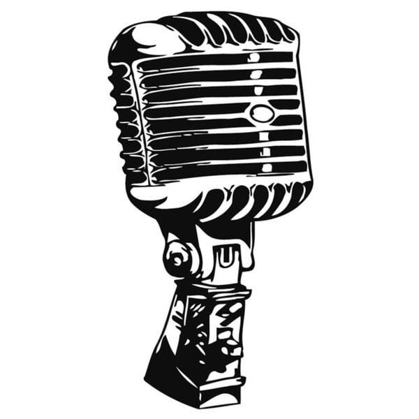 Retro Microphone Music Vinyl Wall Art