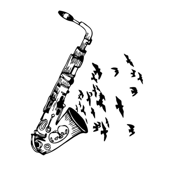 Saxophone Music Vinyl Wall Art