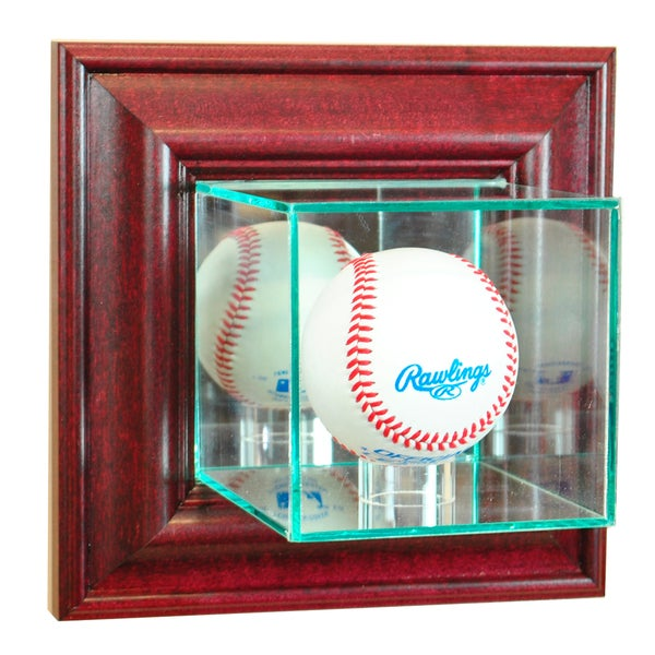 Cherry Finish Wall Mounted Baseball Display Case