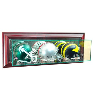 Cherry Finish Triple Mini Football Display Case