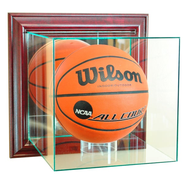 Cherry Finish Wall Mounted Basketball Display Case