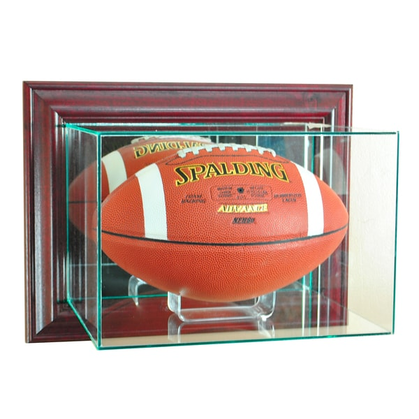 Cherry Finish Wall Mounted Football Display case