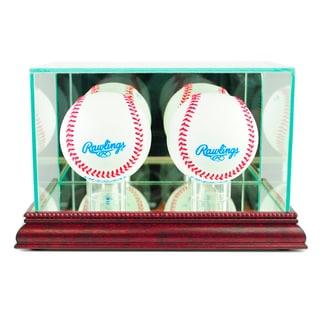 Cherry Finish Double Baseball Display Case