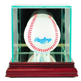 Cherry Finish Single Baseball Display Case