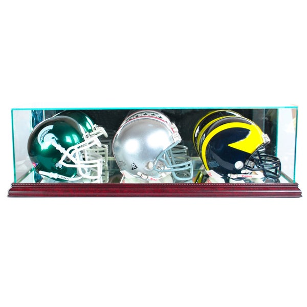 Cherry Finish Triple Mini Football Helmet Display Case