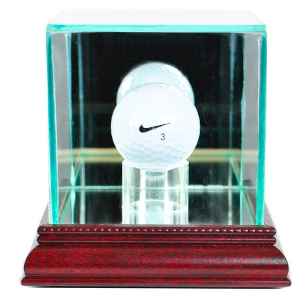 Cherry Finish Golf Ball Display Case