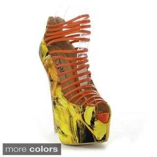 Bumper Women's 'ELLE32E' Strappy Multi-color Stiletto Heels