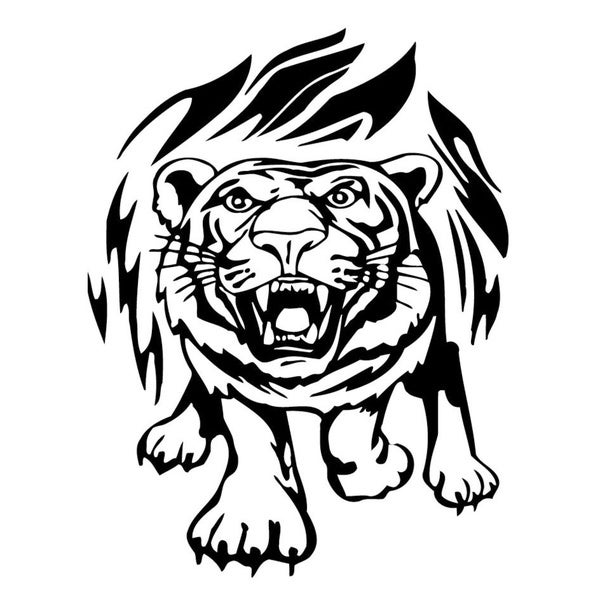 Tiger in Flames Vinyl Wall Art
