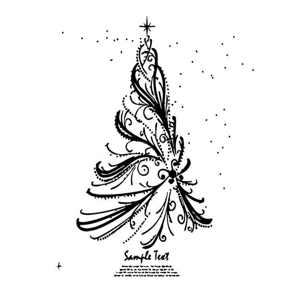 Christmas Tree Black Vinyl Wall Art
