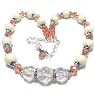 Textured Ivory Glass Pearl and Salmon Crystal 4-piece Wedding Jewelry Set
