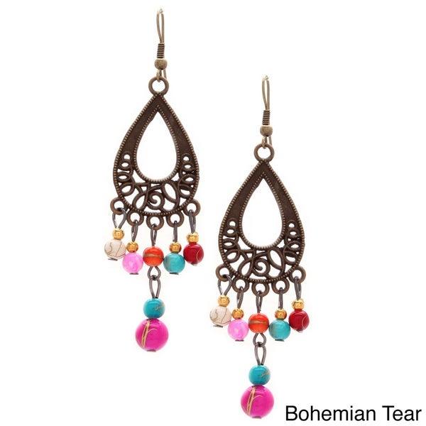 Multi-colored Beaded Bohemian Dangle Earrings