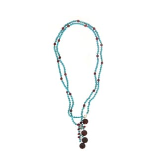 Handmade Long Turquoise Magnesite Bead with Bronze Rice (5 mm) and Coin (10 mm) Pearls Necklace (USA)