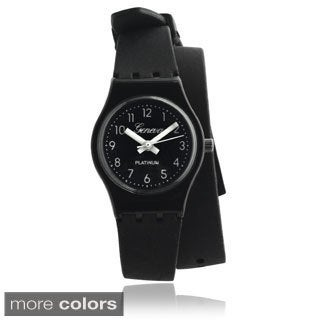 Geneva Platinum Women's Round Face Silicone Wrap Watch