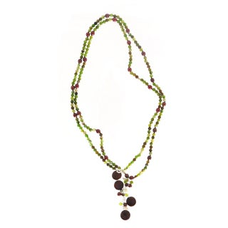 Handmade Long Faceted Green Agate and Bronze RIce Pearl Necklace (5 mm) (USA)