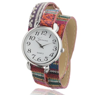 Geneva Platinum Women's Round Face Multicolor Aztec Wrap Watch