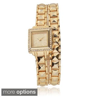 Geneva Platinum Women's Rhinestone-accented Link Wrap Watch