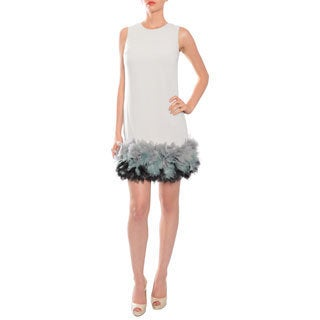Mikael Aghal Whimsical Grey Ruffled Sheath Evening Cocktail Party Dress