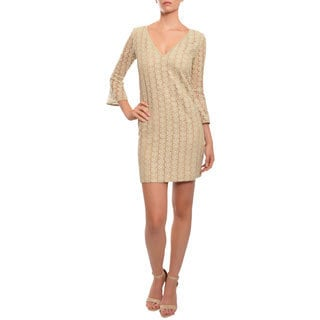 Mark & James by Badgley Mischka Metallic Lace Long Sleeve Eve Dress