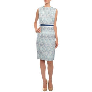 Carmen Marc Valvo Women's Turquoise Sleeveless Shift Dress