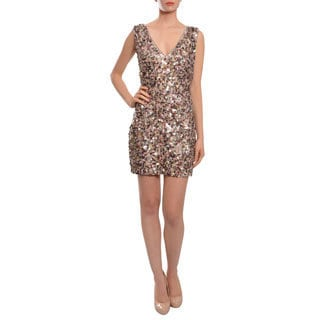 A.B.S. by Allen Schwartz Women's Sparkling Paillette V-neck Tank Dress