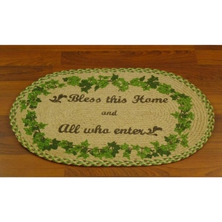 'Bless This Home...' Jute Braided Welcome Mat (1'8 x 2'6)
