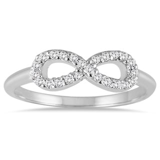 10k White Gold 1/10ct TDW Diamond Infinity Ring (I-J, I1-I2)