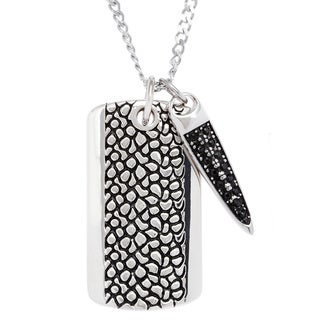 Stainless Steel Dog Tag with Dagger Charm