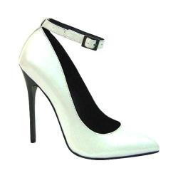 Women's Highest Heel Fierce-51 Ankle Strap White Pearlized Patent PU